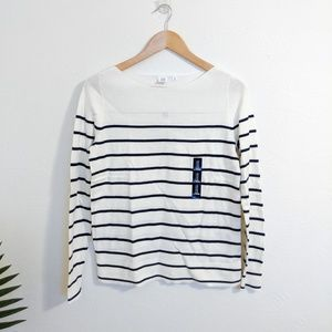 NWT Gap Factory Striped Sweater White Navy Blue